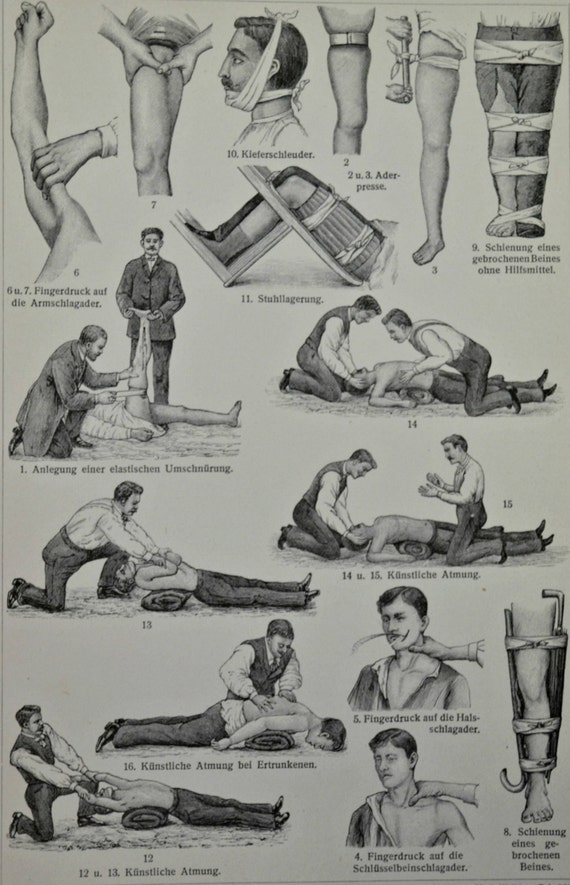 First aids at the beginning of the 20th century print. Old book plate, 1904. Antique illustration. 111 years lithograph. 6x9'2 inches.