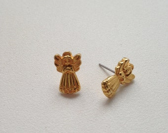 Vintage AVON Angel Post Earrings Gold Tone Small