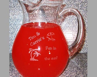 Engraved Michealangelo Crystal Pitcher - Personalized Custom Crystal Pitcher, Engraved Pitcher