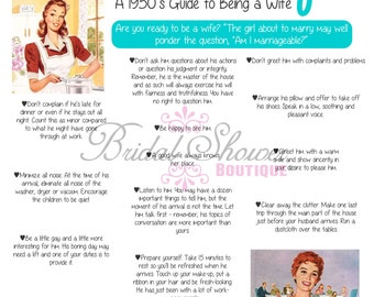 1950's How to Be a Good WIfe Bridal Shower Game TURQUOISE -Fun, Detailed, & Cute!