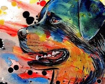 Rottweiler Modern Art Print - Dog Art Print, fine art print, pet lover gift  by Basova