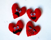 Felt Double-sided Kissing Heart Magnet - Valentine's Day Magnet - Valentine's Day Decor - Felt Heart Magnet