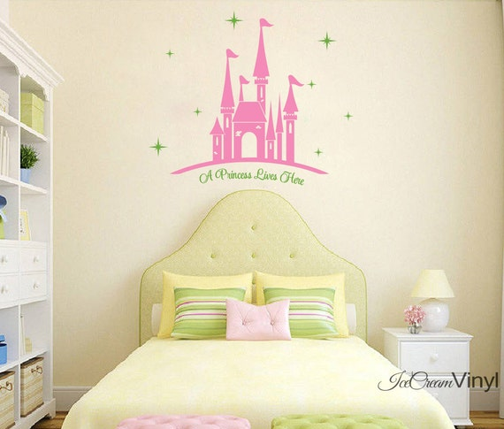 Princess Castle Vinyl Wall Decal for Girls Nursery Bedroom Play Room Vinyl Childrens Decor