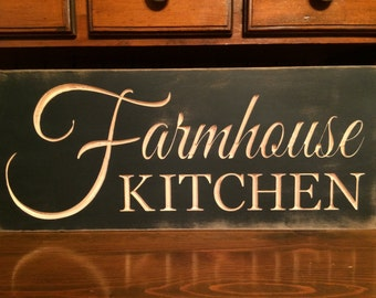 "Custom Carved Wooden Sign - ""Farmhouse Kitchen"" - 24""x10"""