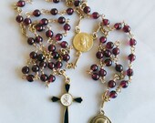 Rosary - Ruby Vintage Glass - 18K Gold Vermeil