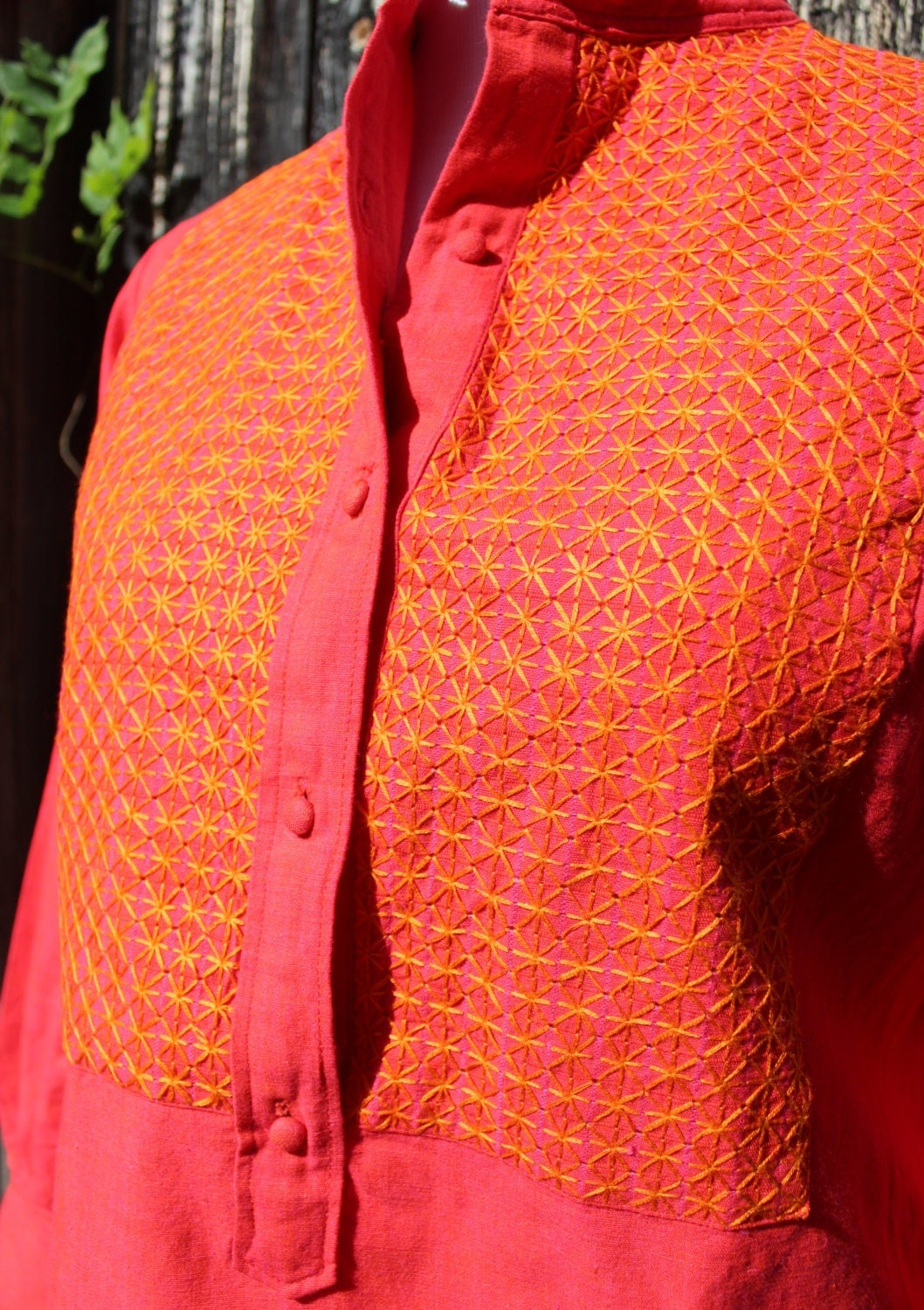 Salmon Colored Herringbone Blazer: Orange And Salmon Colored Hand Embroidered Blouse For A Shop