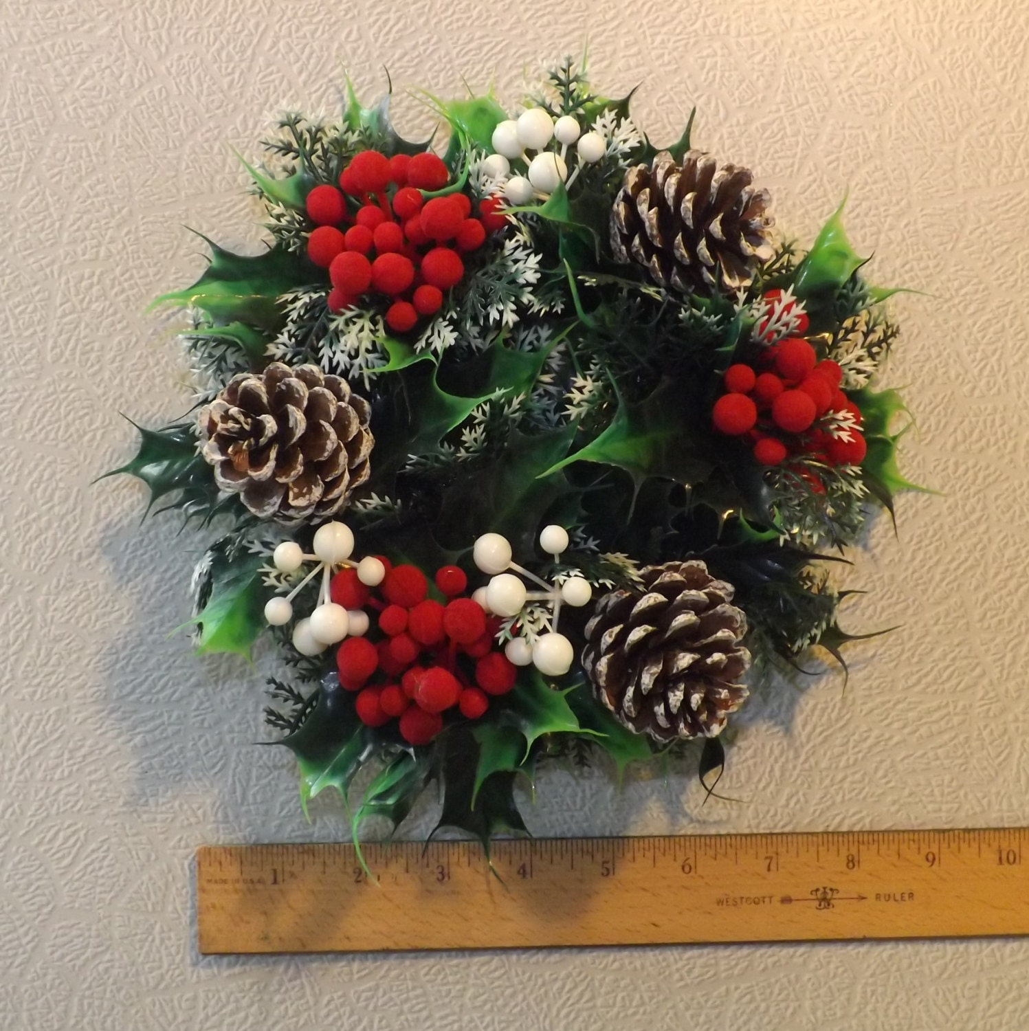 Vintage Christmas Wreath/Candle Ring with by TackyUglyAwesome