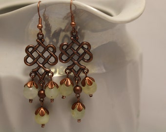 Yellow jade chandelier earrings with copper furniture. Dangle earrings. Dainty earrings.