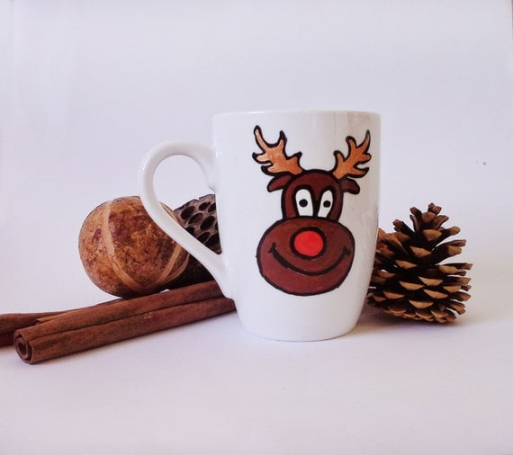 "Cup - Hand painted White Ceramic Mug, ""Rudolf"""