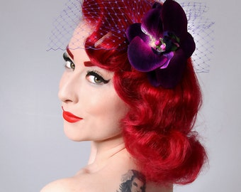 Rock Rockabilly Purple Orchid Pin Up Bridal  hair flower fascinator