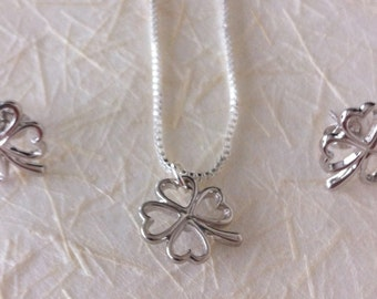 Good Luck Charms with 4 leaf clover in silver, Necklace and Earrings