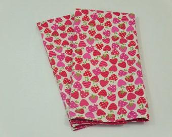 Strawberries Tea Towels, Fruit Theme, Red, Pink, Polka Dots, Kitchen, Dish Towels, Housewarming, Hostess Gift, Set of 2