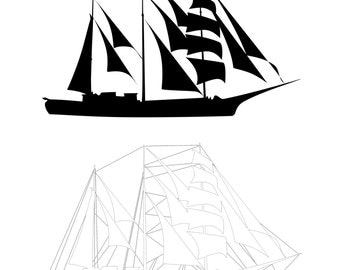 Ship with Sails, Boat Vector PNG Clipart, Outline - Instant Download