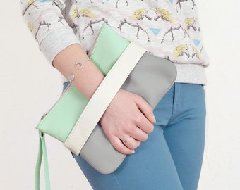 "Clutch bag ""CarryMe"", mint purse, vegan clutch"
