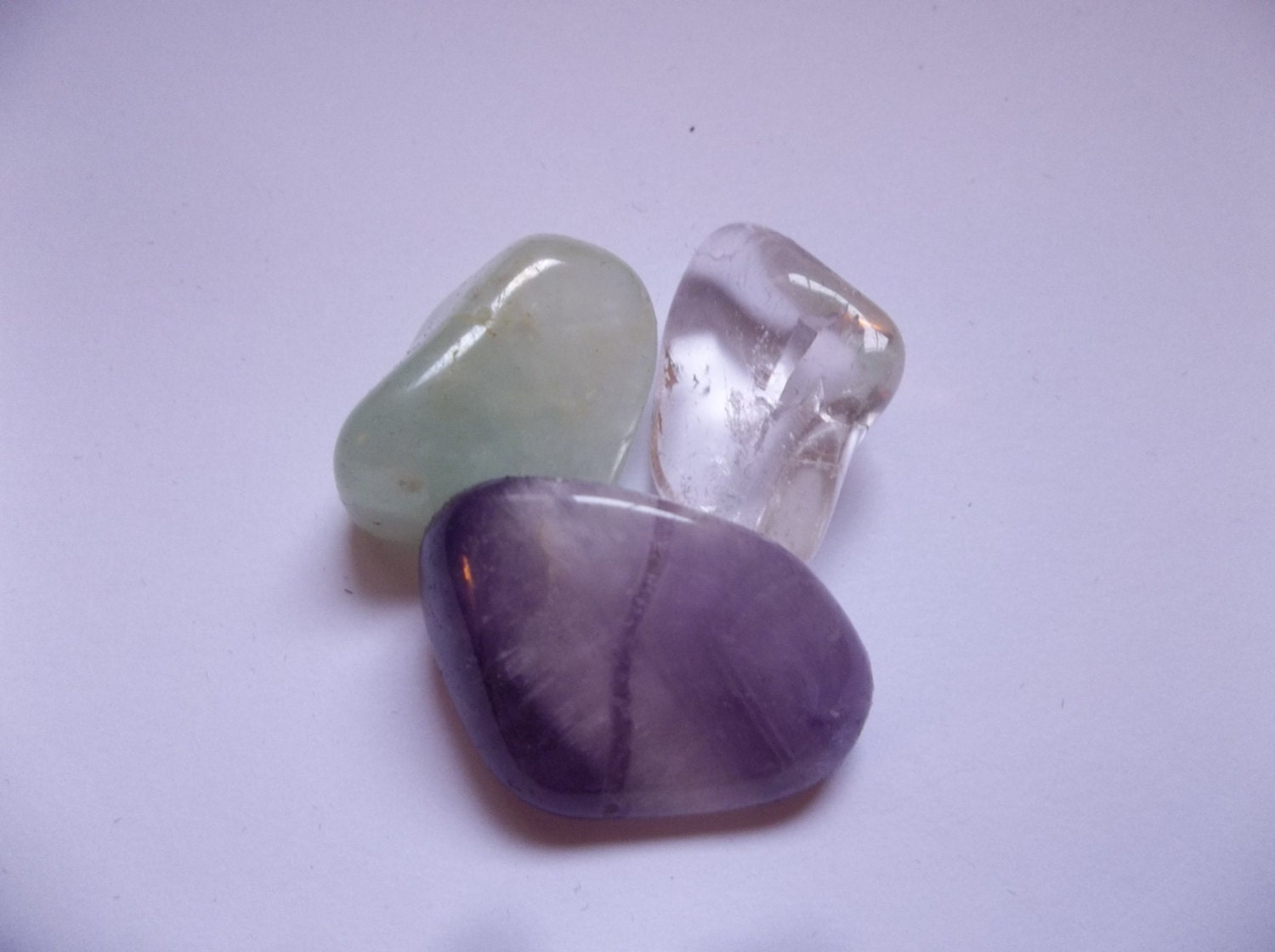 Crown Chakra 3 piece Crystal Healing Set Polished Gemstones