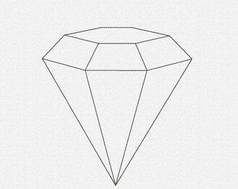 Redwork Diamond Machine Embroidery Design Pattern Download 7 Sizes Modern Redwork Diamond