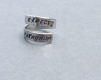 Expecto Patronum Ring Hand Stamped Aluminum Ring