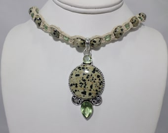 Natural Hemp Necklace with Dalmatian Jasper and Green Crystal Accent Beads and a Sterling Silver Dalmatian Jasper Green Amethyst Pendant