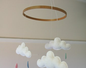 Cloud & raindrop mobile- perfect for nursery, baby/children's room. Custom colours for raindrops. Wool felt.