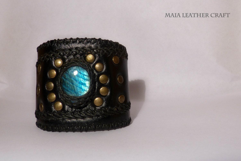 Bracelet - Leather - black -Labradorite - woman steampunk buy now online