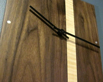 Modern Wall Clock with Figured Wood and Metal