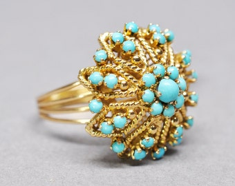 1970s Vintage Turquoise Flower Ring