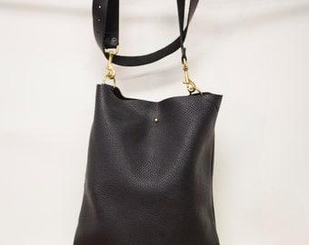 Amy / leather cross body tote / black leather brass hardware / leo lebel