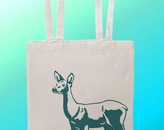 Blue Deer doe - Reuseable Shopping Cotton Canvas Tote Bag