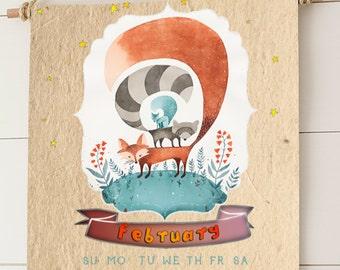 Printable Calendar 2015, Wall  Monthly Calendar, Nursery Art, Illustrations