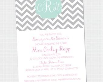 Monogram & Mimosas Invitations - Bridal Shower {Digital File}