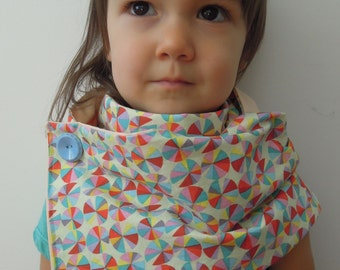 Sale - Handmade children's  cowl.  Kids accessories.  Pinwheel print and peach cotton fabric. One of a kind.