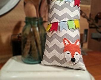 Sale!!  Chevron Fox Pillow, Decorative and Hand-Stitched