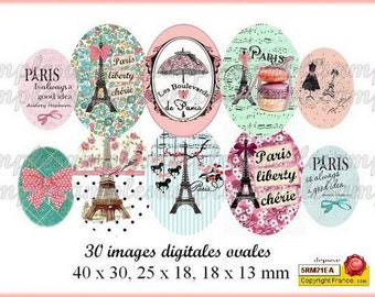 didital collage sheet, digital images Paris Eiffel Tower, oval size, digital oval image, pink and blue, digital collage, instant download