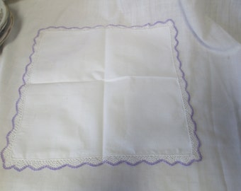 Beautiful Polished White Cotton Handkerchief Hankie white and Lavender crochet trim