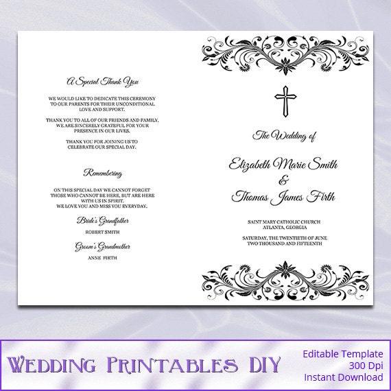 Catholic Wedding Program Template Diy Black White Printable
