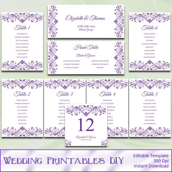 items similar to wedding seating chart template diy elegant purple reception table plan list. Black Bedroom Furniture Sets. Home Design Ideas