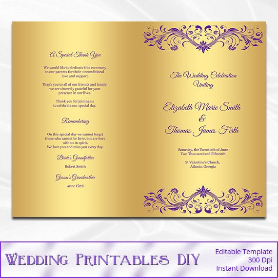 Purple And Gold Wedding Program Template Diy Gold Foil. Dream Wedding Scrapbook. Wedding Suits Birmingham. Luxury Lace Wedding Invitations Uk. Wedding Planning A Z. Wedding Invitation Floral Background. Pocket Wedding Invitations Free Samples. Fall Wedding Nail Polish Colors. Wedding Favours For Child Guests