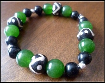 Jade Wood and Obsidian Stretchy Bracelet