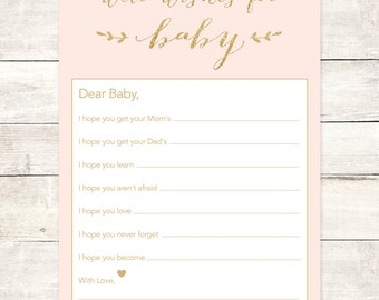 wishes for baby printable template - wishes for baby girl etsy