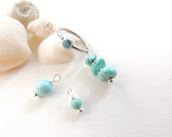 Turquoise Captive Navel Ring Set, Turquoise Belly Button Ring, Summertime Jewelry, Captive Belly Rings, Women / Teen Gift. 327