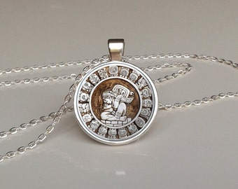 Haab calendar pendant aztec pendant old necklace steampunk jewelry