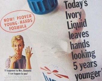 1965 Ivory Dishwashing Liquid Vintage Advertisement & Coupon Kitchen Wall Art Laundry Room Decor Original Magazine Print Ad Paper Ephemera