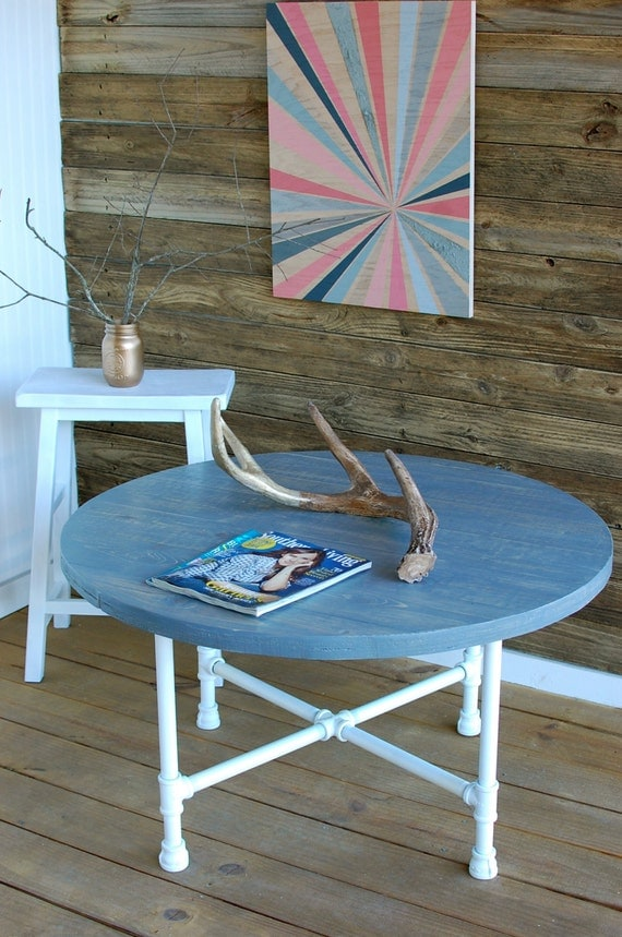 coastal coffee table round industrial