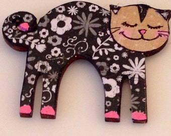 Cute Cat Fridge Magnet, Hand painted Wood Magnet, Silly Cat Magnet