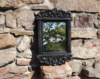 147- Mirror -Syroco- Ornate- Wedding -Canyon Black -Distressed