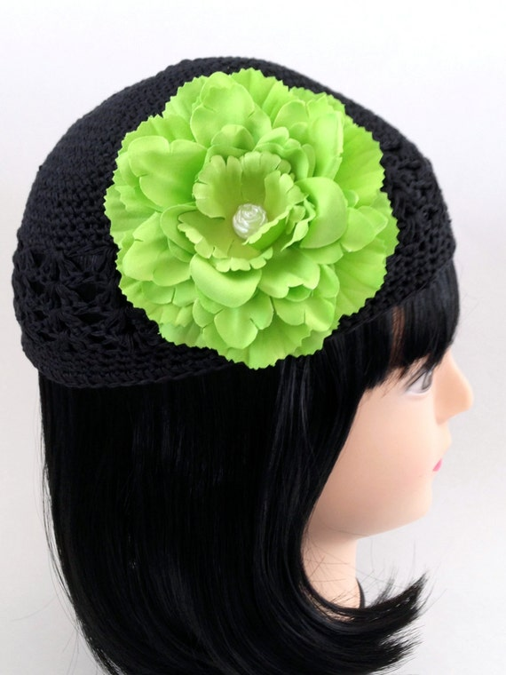 Crochet Hair Hat : Flower Hair Clip & Crochet Hat Set Lime Green Peony Flower Black Baby ...