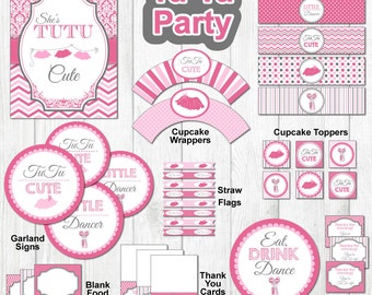 TuTu Party Kit Printables--Coordinating TuTu Dancing Party Items