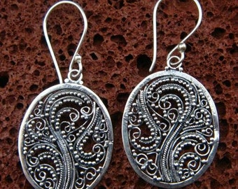 Sterling Silver Oval Filigree Earrings - Bali Jewelry SE-147-DG