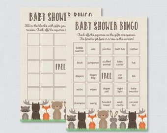 Woodland Baby Shower Bingo Cards - Prefilled Bingo Cards AND Blank Cards - Digital Instant Download - Woodland Baby Shower Game - 0010