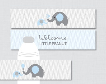 Elephant Water Bottle Labels Baby Shower Printable - Blue and Gray Elephant - Welcome Little Peanut - Instant Download - Elephant 0024-B